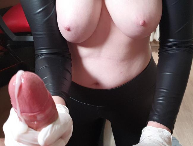 Ölige Latex Handschuh Massage