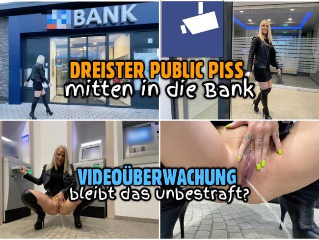 Dreister PUBLIC PISS in die Bank | Bleibt das unbestraft?