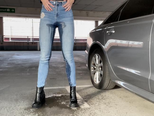 High waist Jeans komplett durchnässt